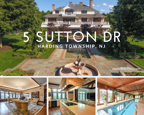 5 Sutton Dr sits on several acres of tree covered land in Harding Twp, NJ. The main house includes several fireplaces, a main floor master, large kitchen, lower level media/game room, in-law suite, and indoor lap pool.