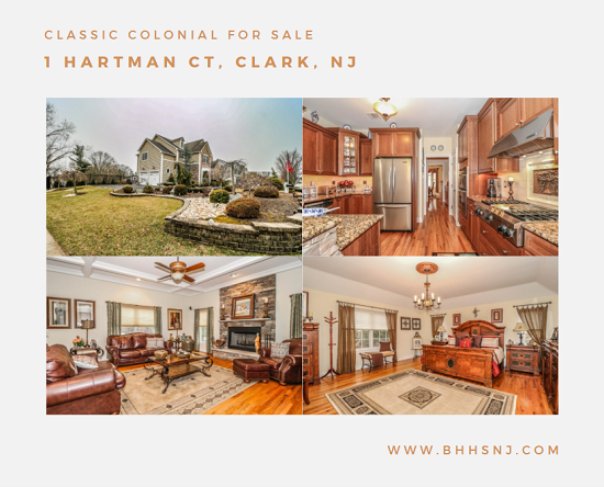 The classic colonial located at 1 Hartman Ct in Clark, NJ is perfect for entertaining. The walk-out basement includes a second fully functioning kitchen with plenty of room for watching movies, hosting summer barbecues or simply hanging out.