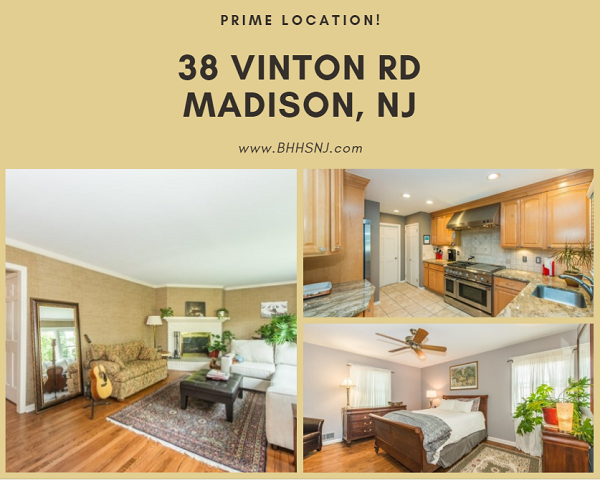 The lovely brick colonial at 38 Vinton Rd in the Hill section of Madison, NJ features beautiful wood floors, two wood-burning fireplaces, and a private backyard. And it's located within walking distance of everything!