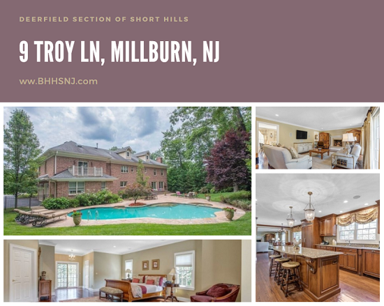 If it's space you need, it's space you get in the stately colonial located at 9 Troy Lane in Millburn, NJ. A large kitchen, butler's pantry, spacious family room, huge finished basement, and beautiful backyard make entertaining a breeze.
