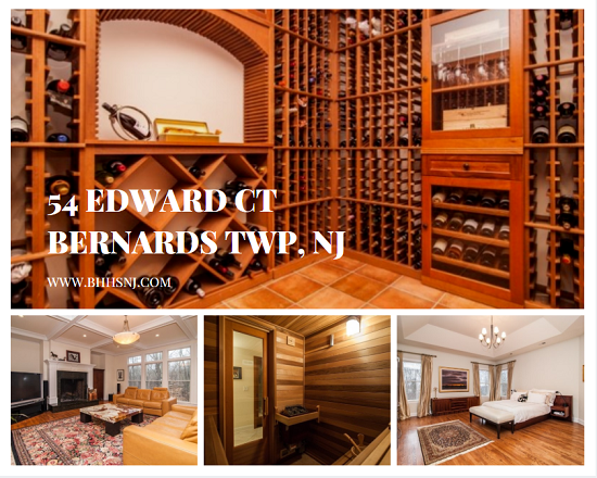 54 Edward Ct in Bernards Twp, NJ provides plenty of room for a large family and to entertain. The fully finished walk-out basement features a 1700 bottle wine cellar, dry sauna, recreation area, and media space.