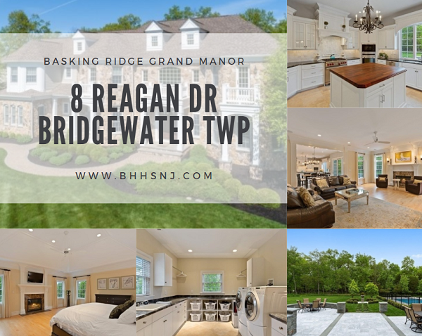 8 Reagan Dr in Bridgewater Twp, NJ sits on a quiet cul-de-sac. It features a gorgeous grand staircase, high ceilings, a massive kitchen, second floor laundry room, and beautiful backyard pool with pool house.