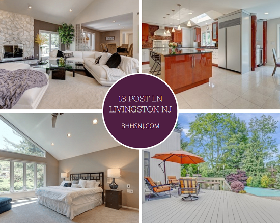 The contemporary beauty located at 18 Post Ln in Livingston, NJ features soaring ceilings, a main floor master, fully finished basement, meticulously manicured landscaping, and a kitchen that was featured in Design NJ magazine.